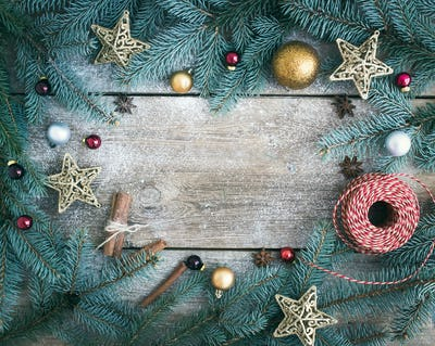 Christmas (New Year) decoration background: fur-tree branches, g