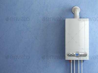 Gas boiler on blue background. Gas boiler home heating.