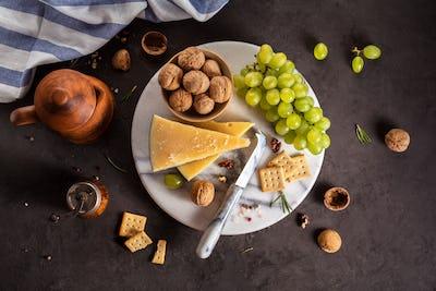 Cheese grapes and walnuts