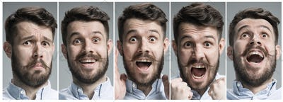 Collage of happy and surprised emotions