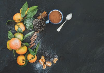 Fresh mandarins with leaves, cinnamon sticks, vanilla, pine cone and mug of hot chocolate