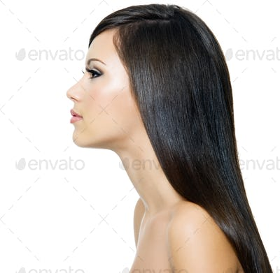 Woman with long healthy brown hair