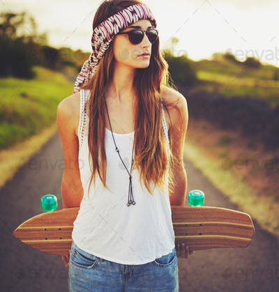 Young Woman with Skateboard