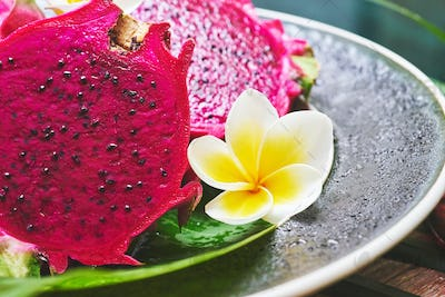 dish with a bright and juicy tropical dragon fruit
