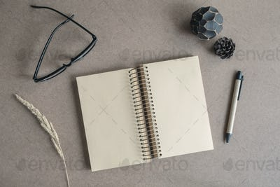 Blank note book with eye glasses and pen
