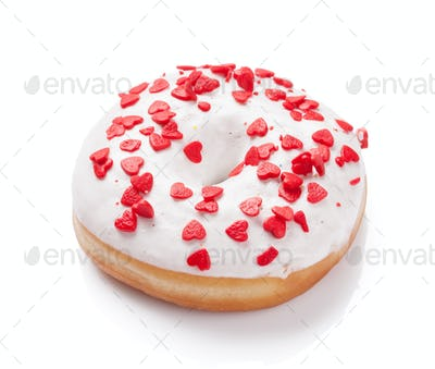 Donut with heart shaped decor
