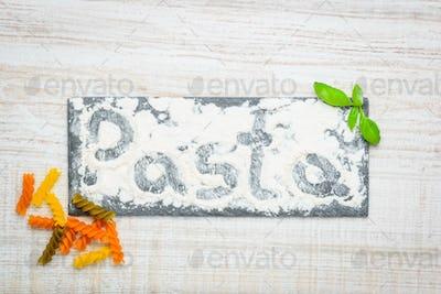 Pasta Written in White Flour