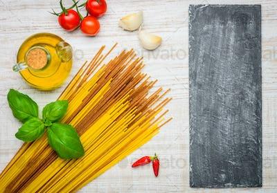 Italian Cuisine Spaghetti and Copy Space
