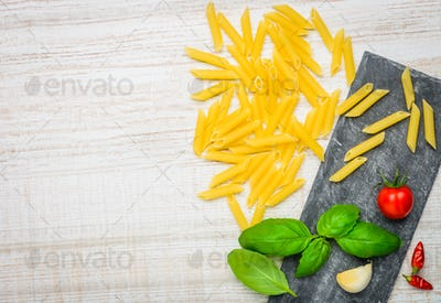 Yellow Italian Penne and Copy Space