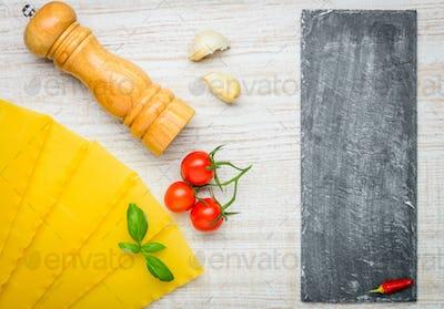 Reginette Lasagna Pasta and Copy Space