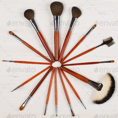Makeup brushes set for professional on white background