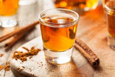 Cinnamon Whiskey Bourbon in a Shot Glass