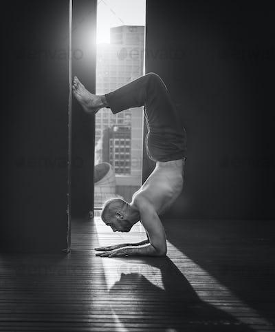 Man Yoga Practice Pose Training Concept