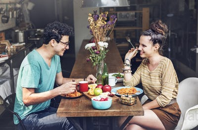 Couple Eating Food Feeding Sweet Concept