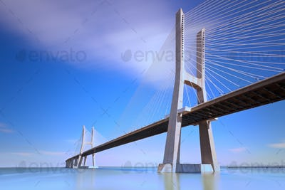 Vasco da Gama bridge, Lisbon, Portugal.