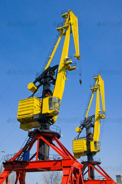 Two cranes in Puerto Madero