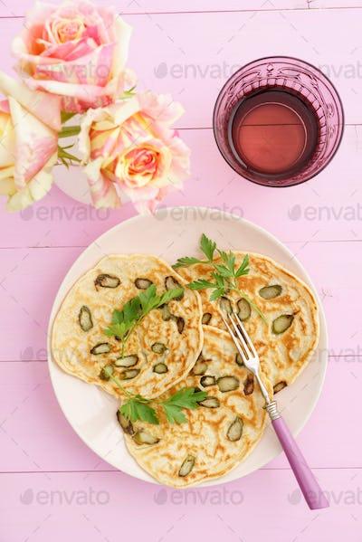 Purple asparagus pancakes