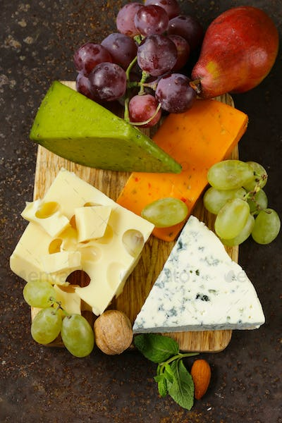 Cheeseboard With Different Cheese
