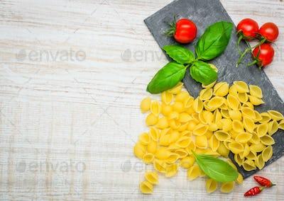 Conchiglie Rigate Pasta and Copy Space