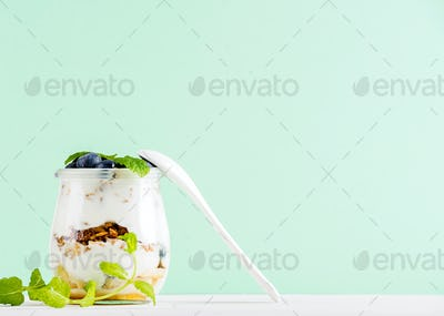 Yogurt oat granola with jam, blueberries and green leaves in glass jar on mint backdrop