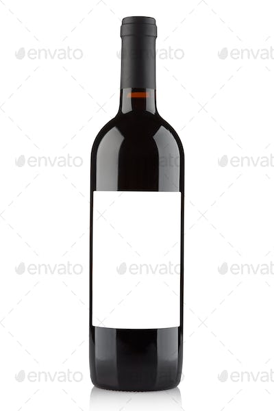 Red wine bottle with blank label isolated on white, clipping pat