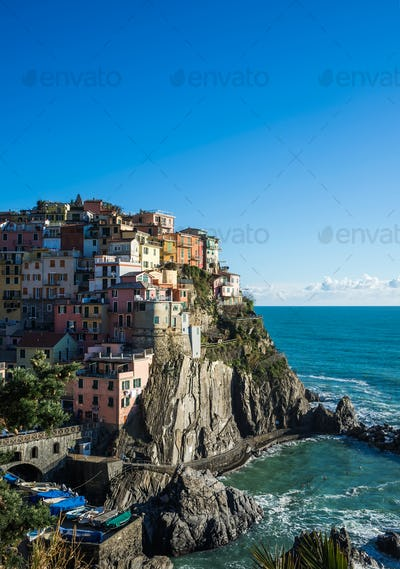 Scenic view of Manarola village and the sea in Liguria region, Cinque Terre, northern Italy
