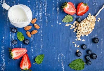 Healthy breakfast ingredients food frame