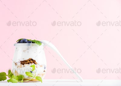 Yogurt oat granola with jam, blueberries and green leaves in glass jar on pink pastel backdrop