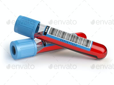 Blood test tubes. Blood samples  isolated on white.