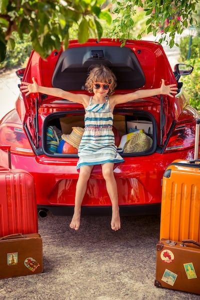 Happy child ready to trip