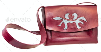 front view of cherry color handbag with applique