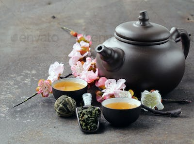 Teapot, Cups And Different Green Tea