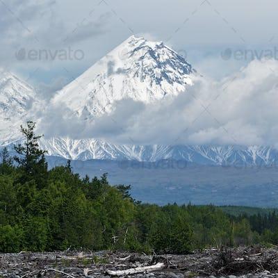 Beautiful View of Kamen Volcano. Russia, Kamchatka