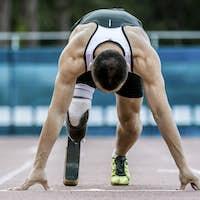 Disabled athlete preparing to start running