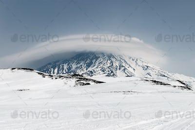 Wintry Mountain Landscape of Kamchatka: Active Koryaksky Volcano
