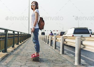 Skateboard Concrete Enjoy Jeans Exercise Play Concept