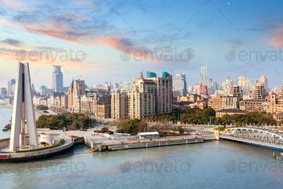shanghai bund in the sunrise