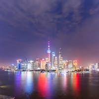 panoramic view of shanghai skyline at night