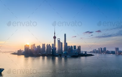 charming shanghai skyline in sunrise