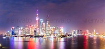 panoramic view of shanghai at night