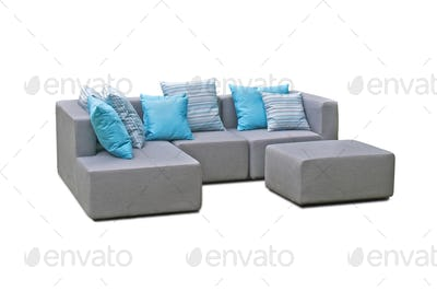Outdoor indoor sofa with pillows