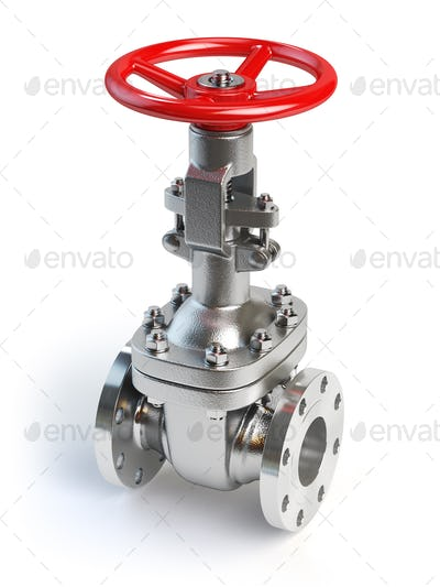 Gas pipeline valve isolated on white