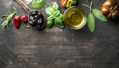 Food background with vegetables, herbs and condiment