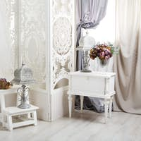 shabby chic white room interior, wedding decor