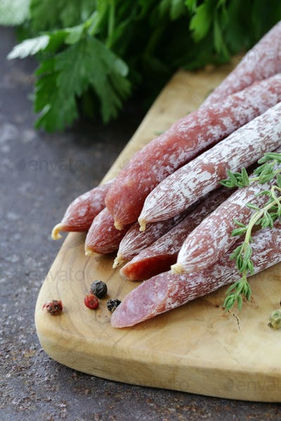 Thin Salami Sausage Snack With Herb