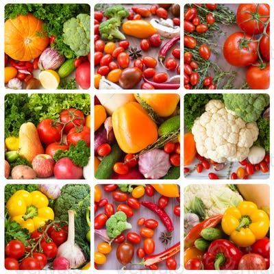 Collage. Fruits and vegetables backgrounds.