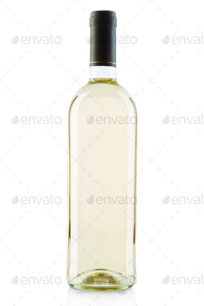 White wine bottle isolated on white, clipping path included
