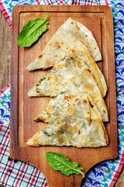 mushrooms spinach quesadilla