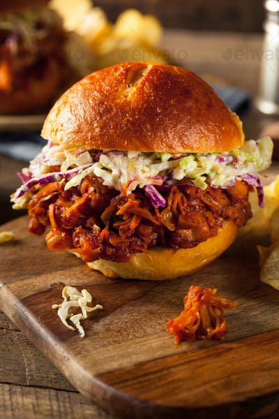 Homemade Vegan Pulled Jackfruit BBQ Sandwich