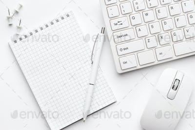 Office Table With Notepad And Computer
